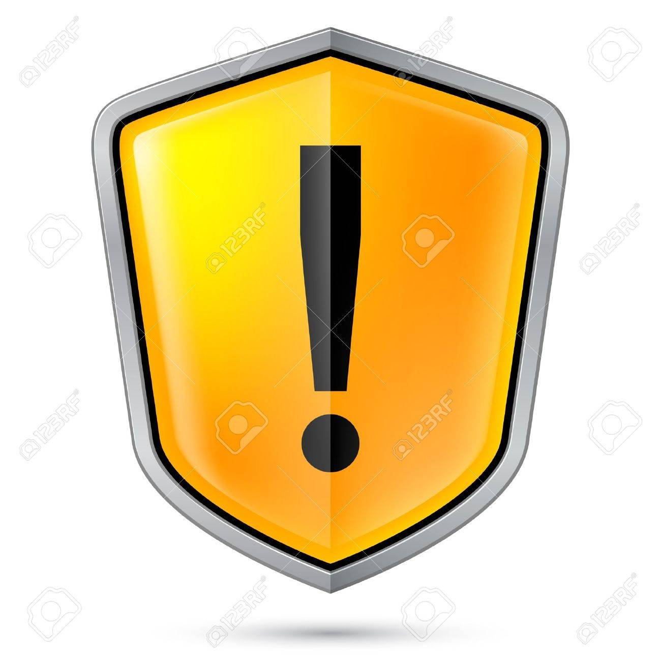 Warning sign icon on shield  Illustration on white Stock Vector - 21072155