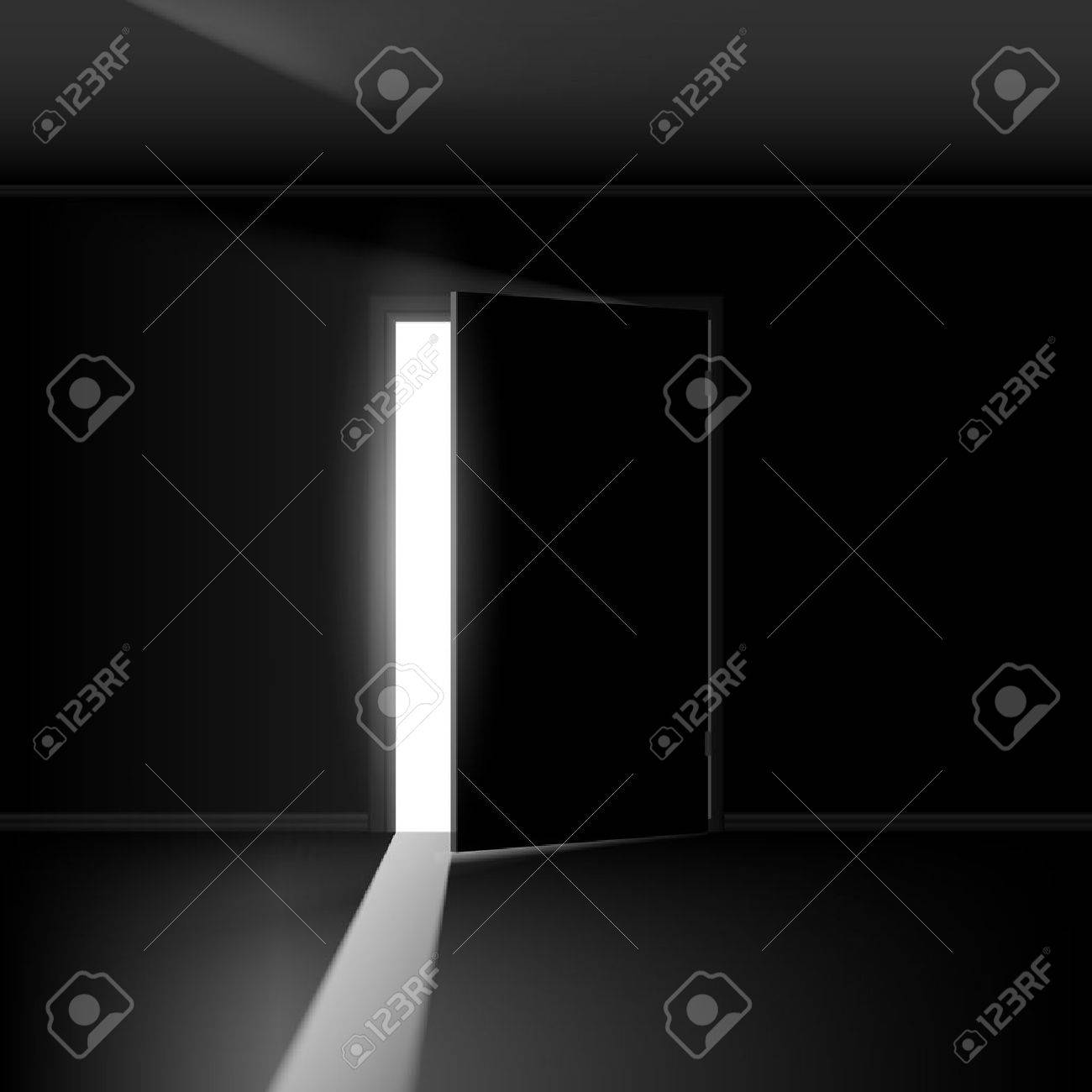 Dark bedroom background dark spotlight room background - Dark Room Open Door With Light Illustration On Empty Background
