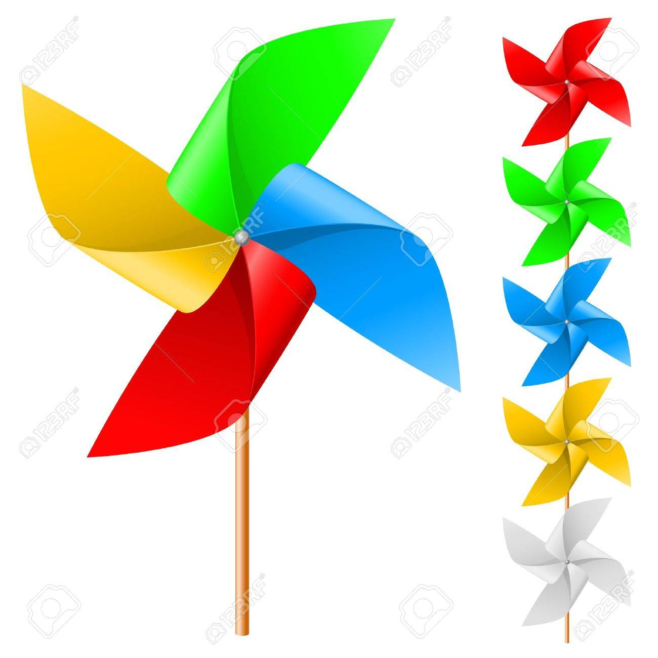 Toy Windmill Propeller Set With Multicolored Blades On A White Stock Vector