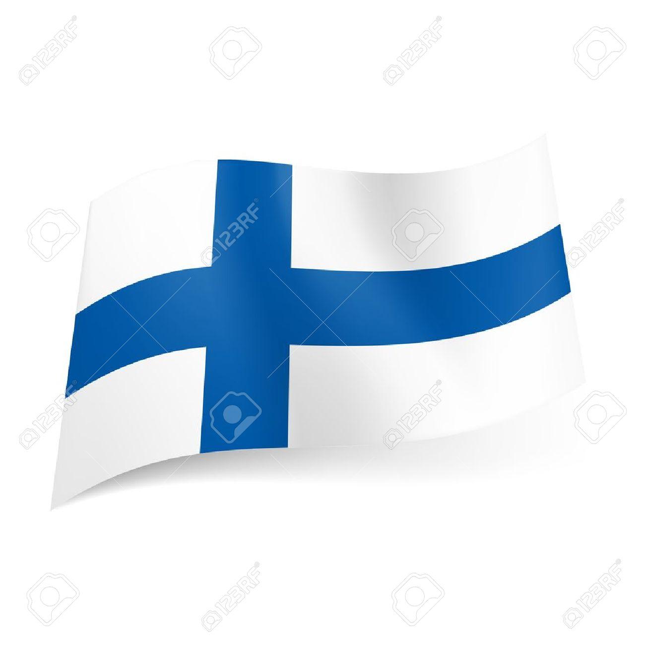 National flag of Finland: blue cross on white background. Stock Vector - 21576002