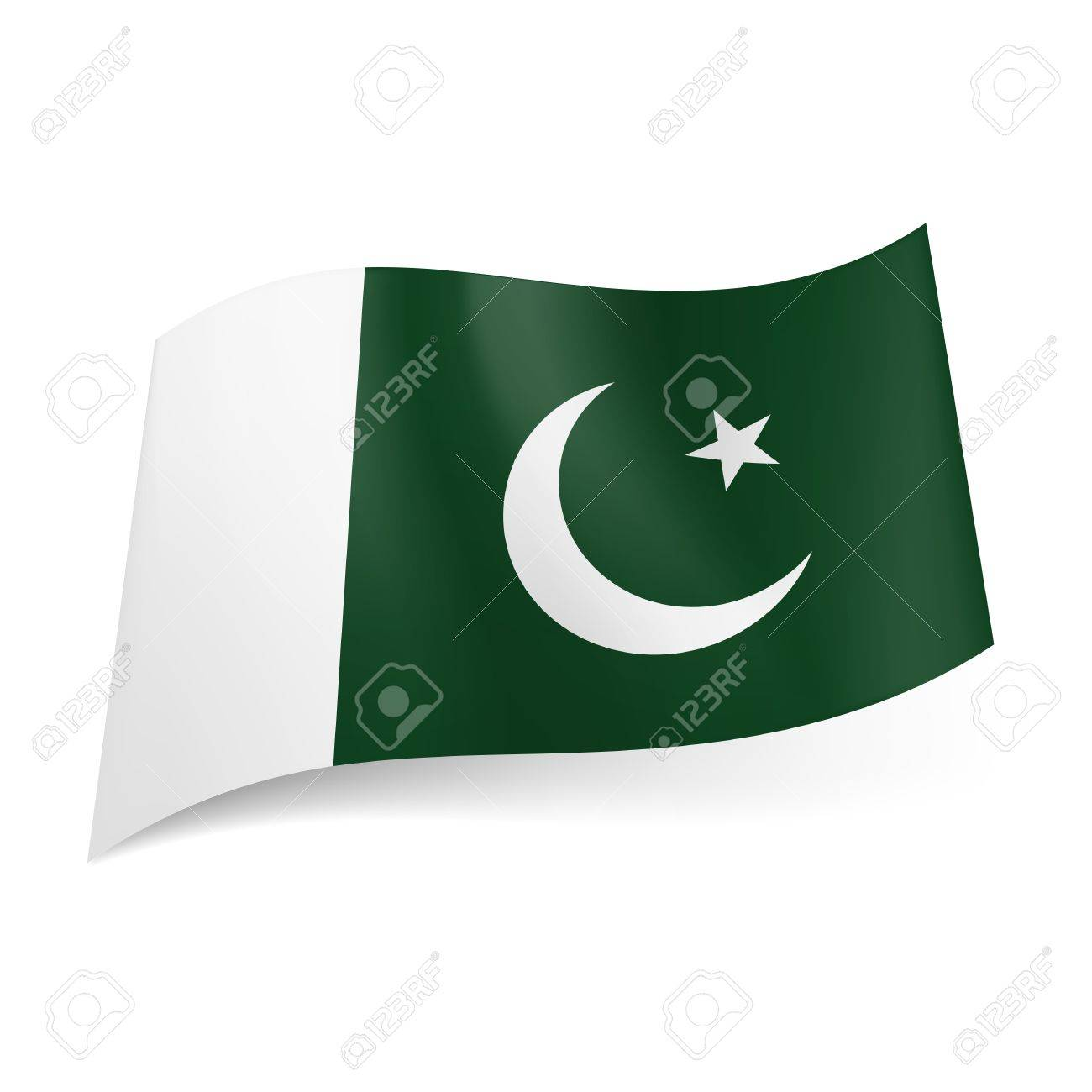 National flag of pakistan crescent moon and star on green national flag of pakistan crescent moon and star on green background with white vertical stripe biocorpaavc Gallery