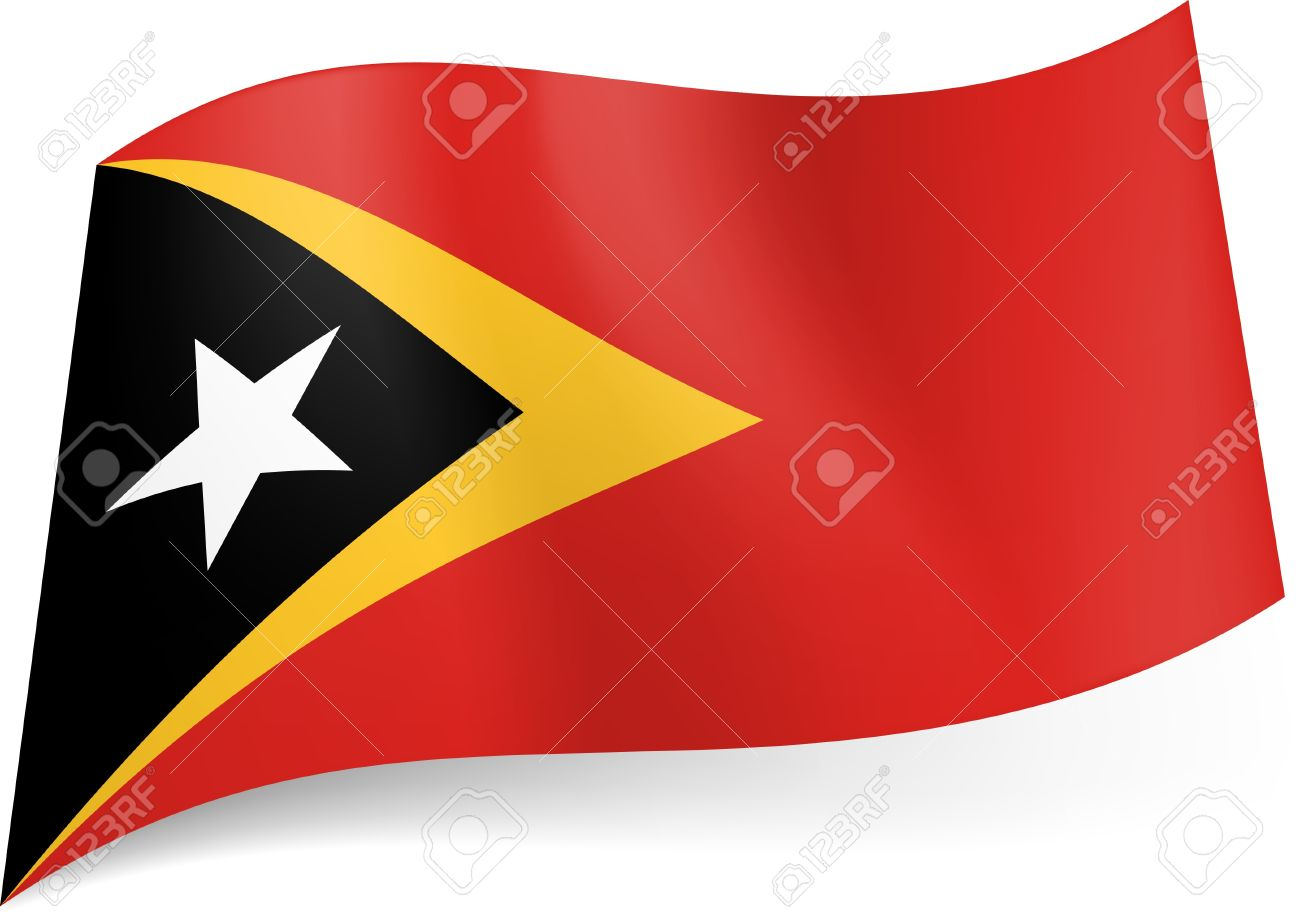 national flag of east timor: black triangle with white star within