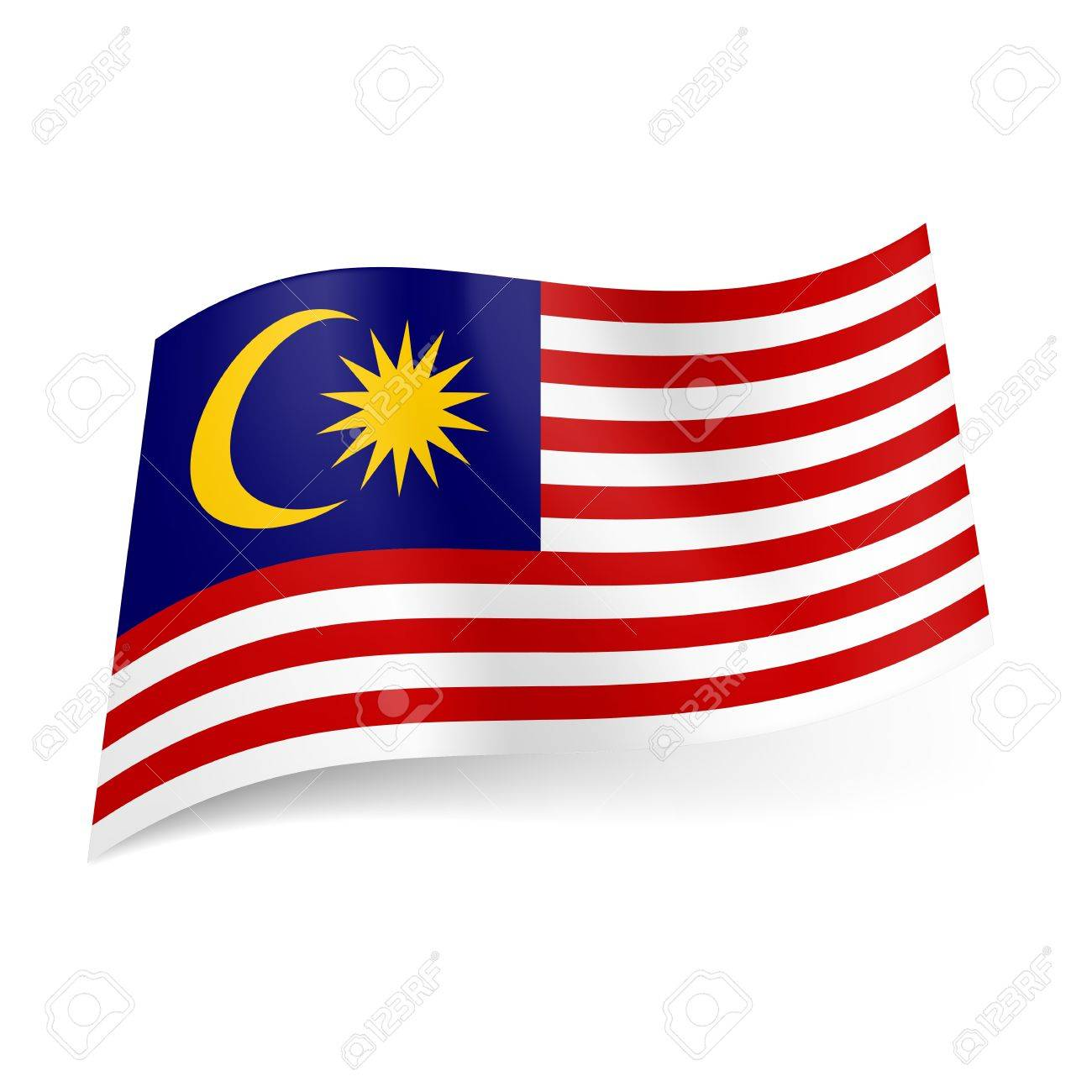 National Flag Of Malaysia Red And White Horizontal Stripes With