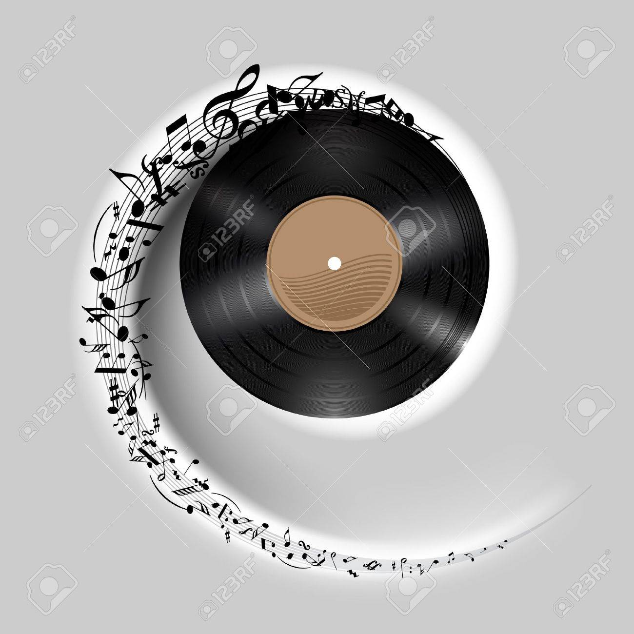 Vinyl disc with music notes flying out in white spiral. Effect of rolling record. Illustration on gray background. Stock Vector - 21943850