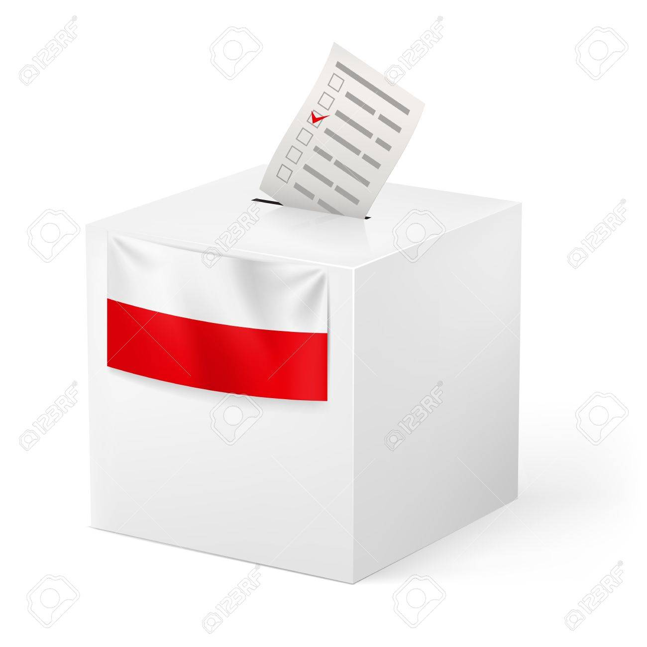 Election in Poland: ballot box with voicing paper isolated on white background. Stock Vector - 21943913