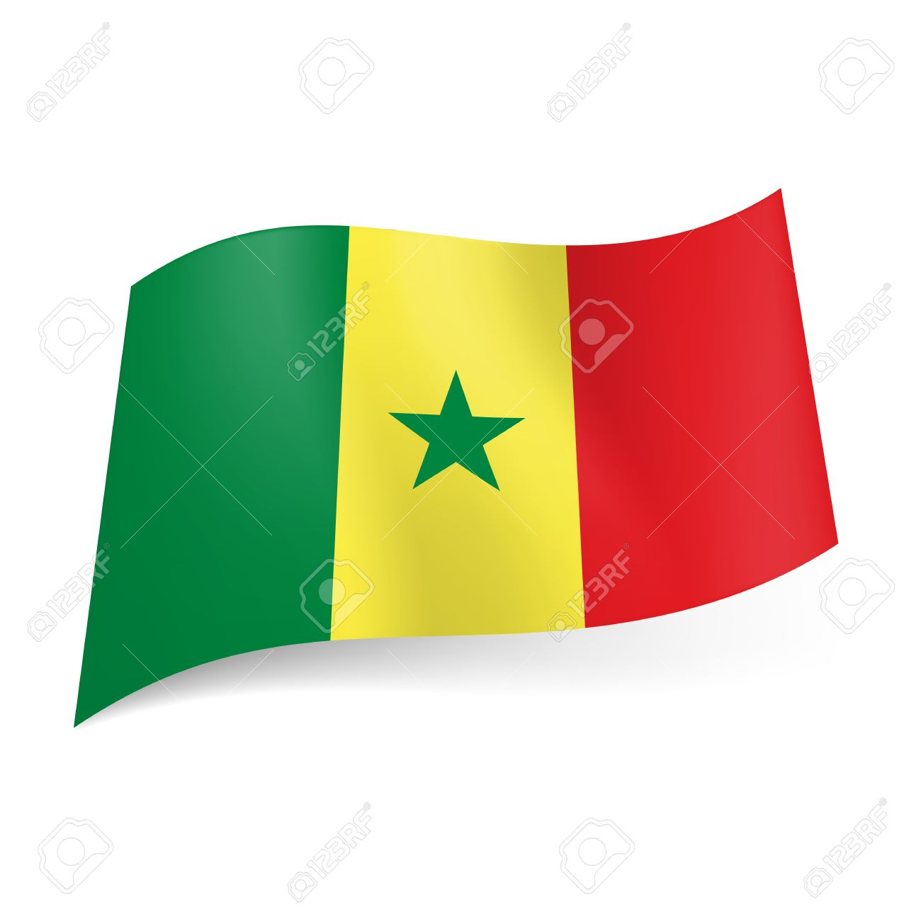 national flag of senegal green, yellow and red vertical stripes