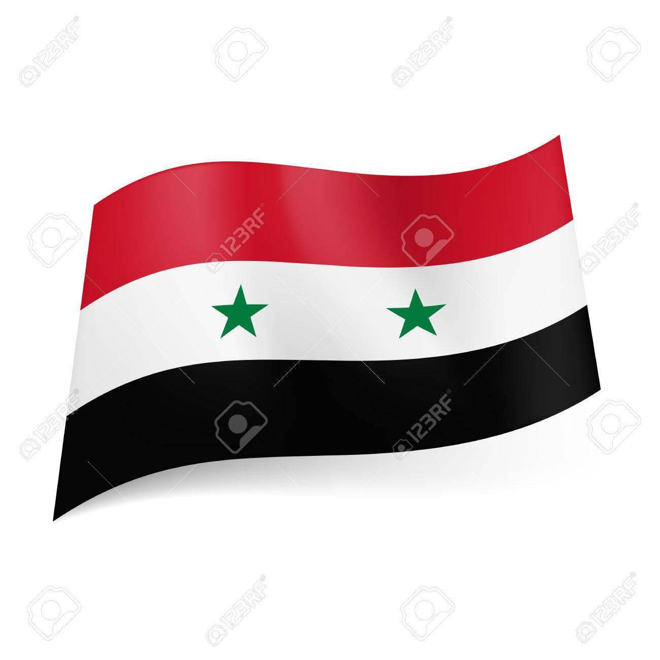 National Flag Of Syria Red White And Black Horizontal Stripes