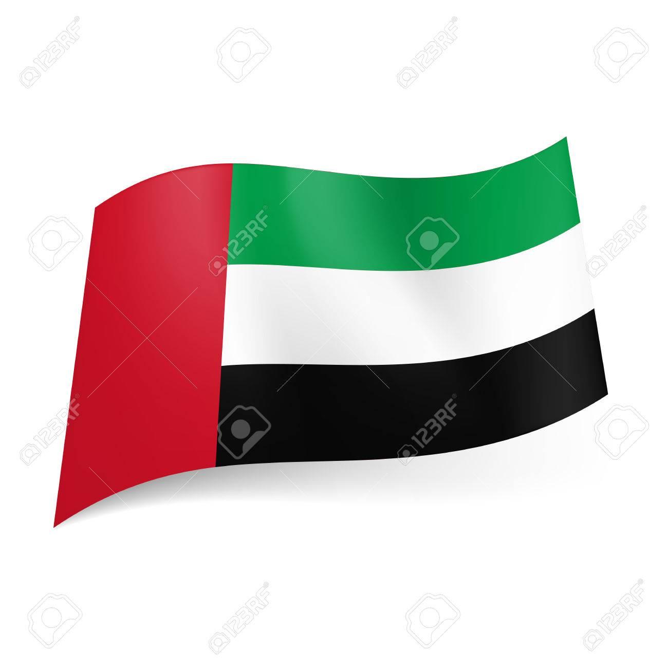 National Flag Of United Arab Emirates Green White And Black