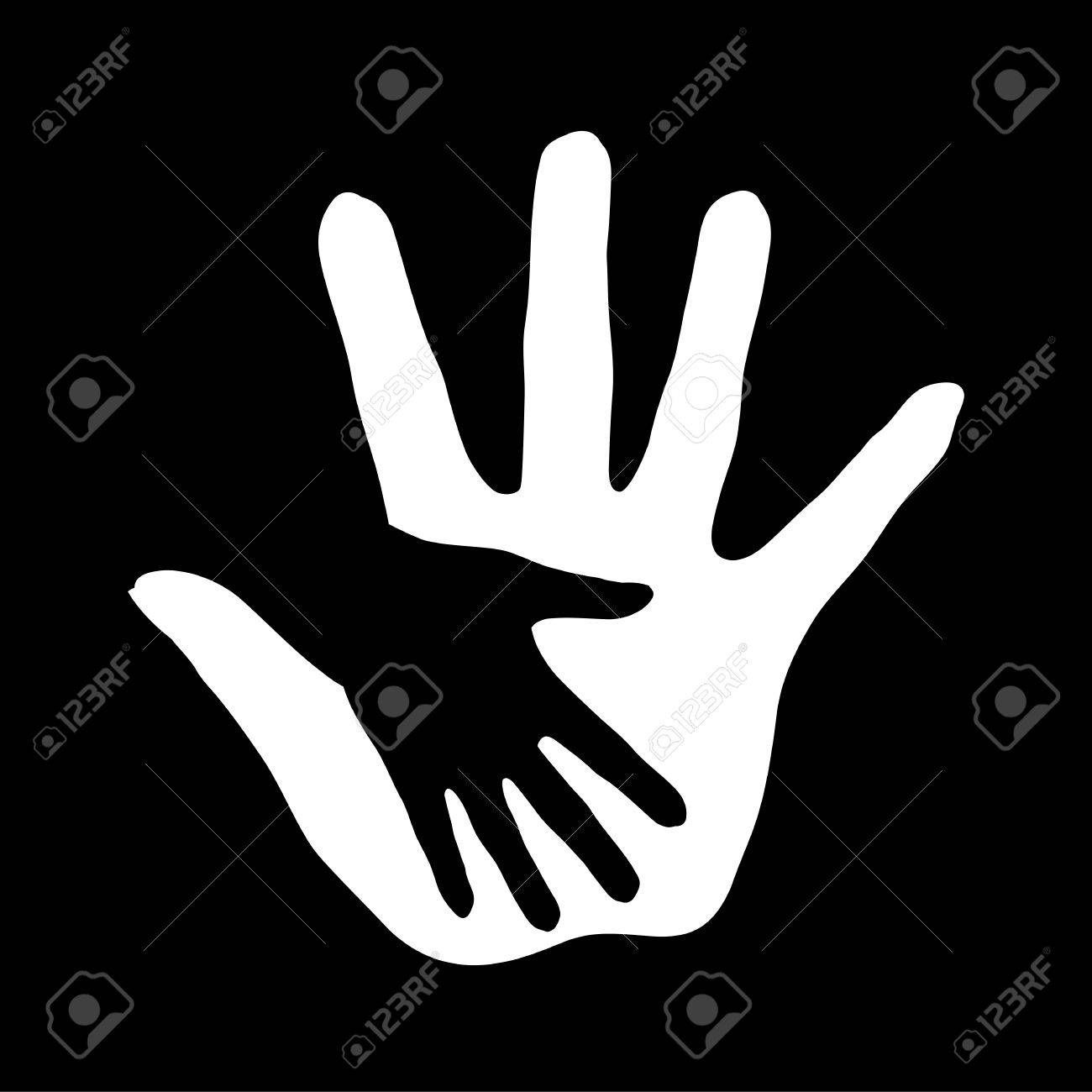 Black-and-white hand in hand illustration as concept of help, assistance and cooperation. Stock Vector - 22630078