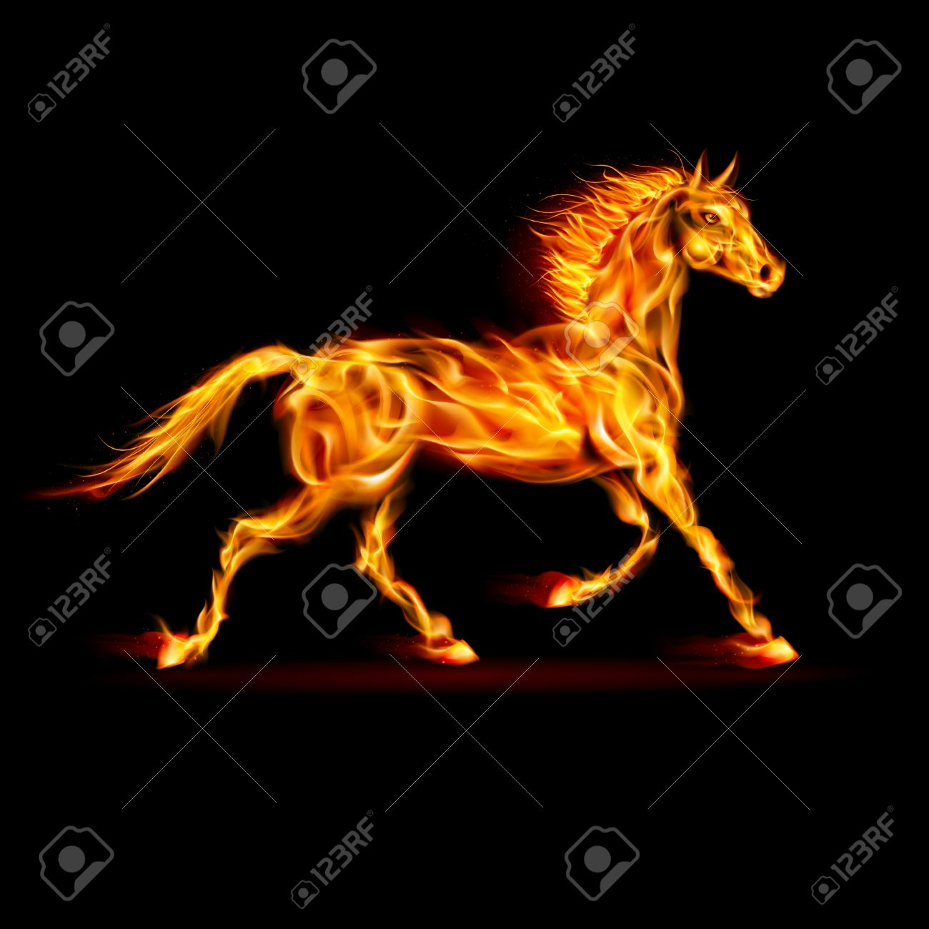 Fire horse in motion on black background. Stock Vector - 22779636