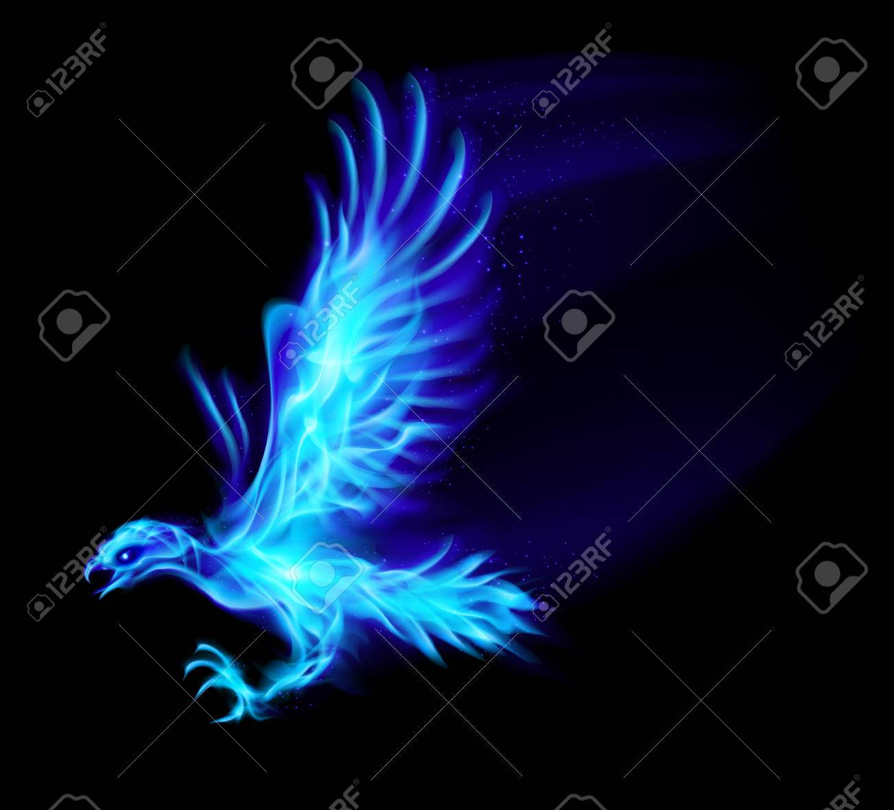 Illustration of blue fire hawk on black background. Stock Vector - 22910044
