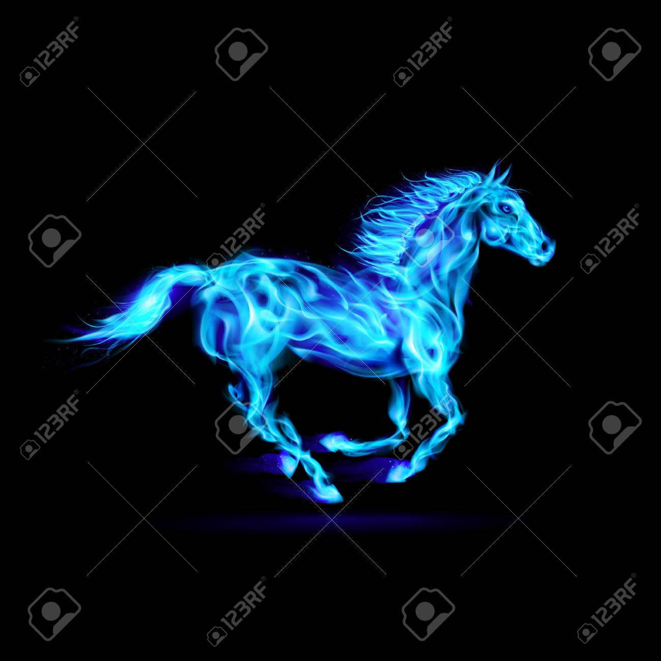 Illustration of blue fire horse on black background. Stock Vector - 22910083