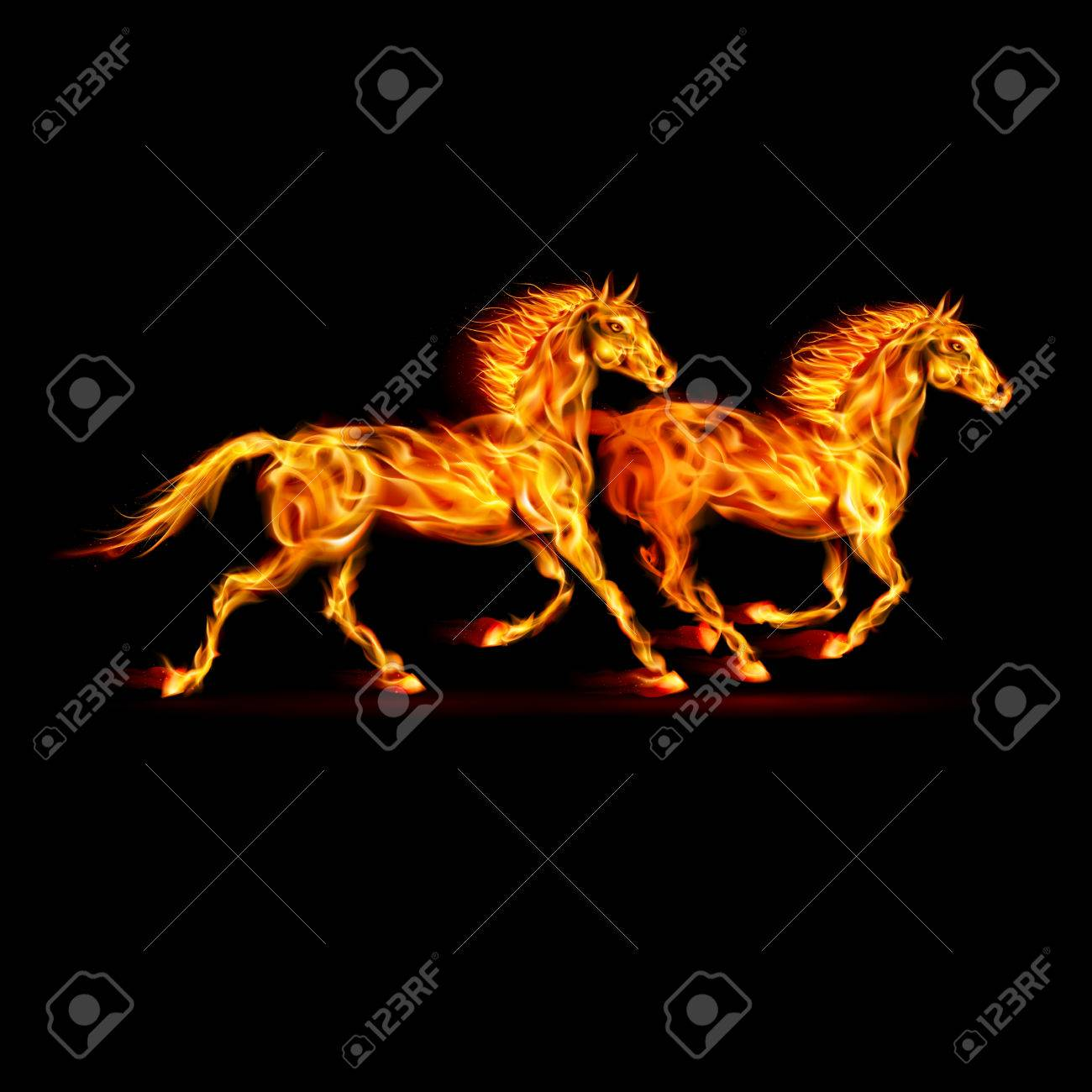 Two running fire horses on black background. Stock Vector - 22910084