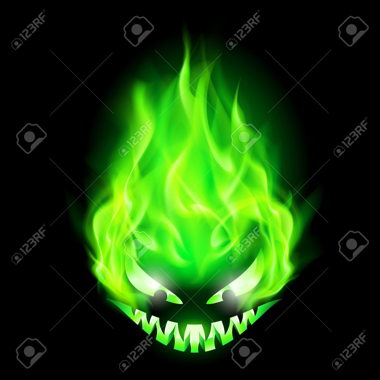 Monster head blazing in green on black background. Stock Vector - 22910094