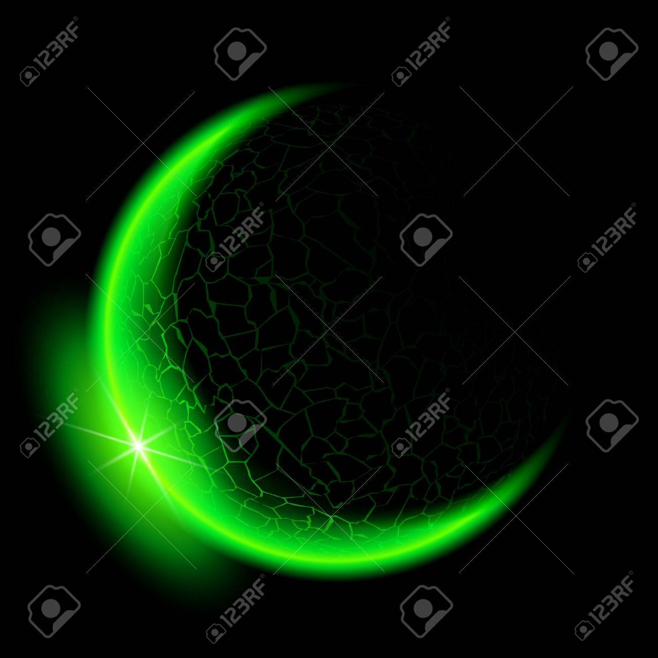 Green crescent with flare on black background. Stock Vector - 23104308