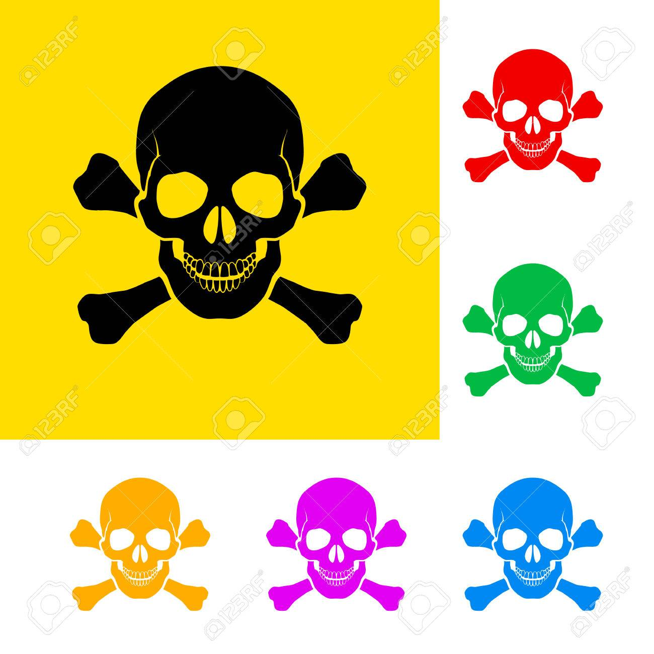 Danger sign of skull and cross bones with color variations. Stock Vector - 23684542