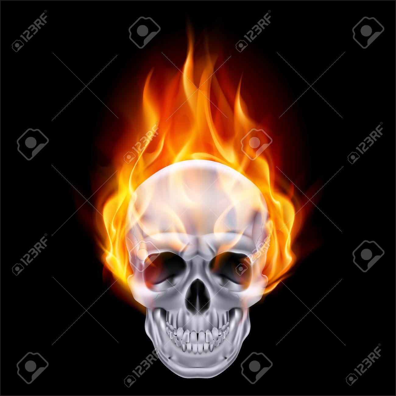 Illustration of chrome fire skull on black . Stock Vector - 24012010