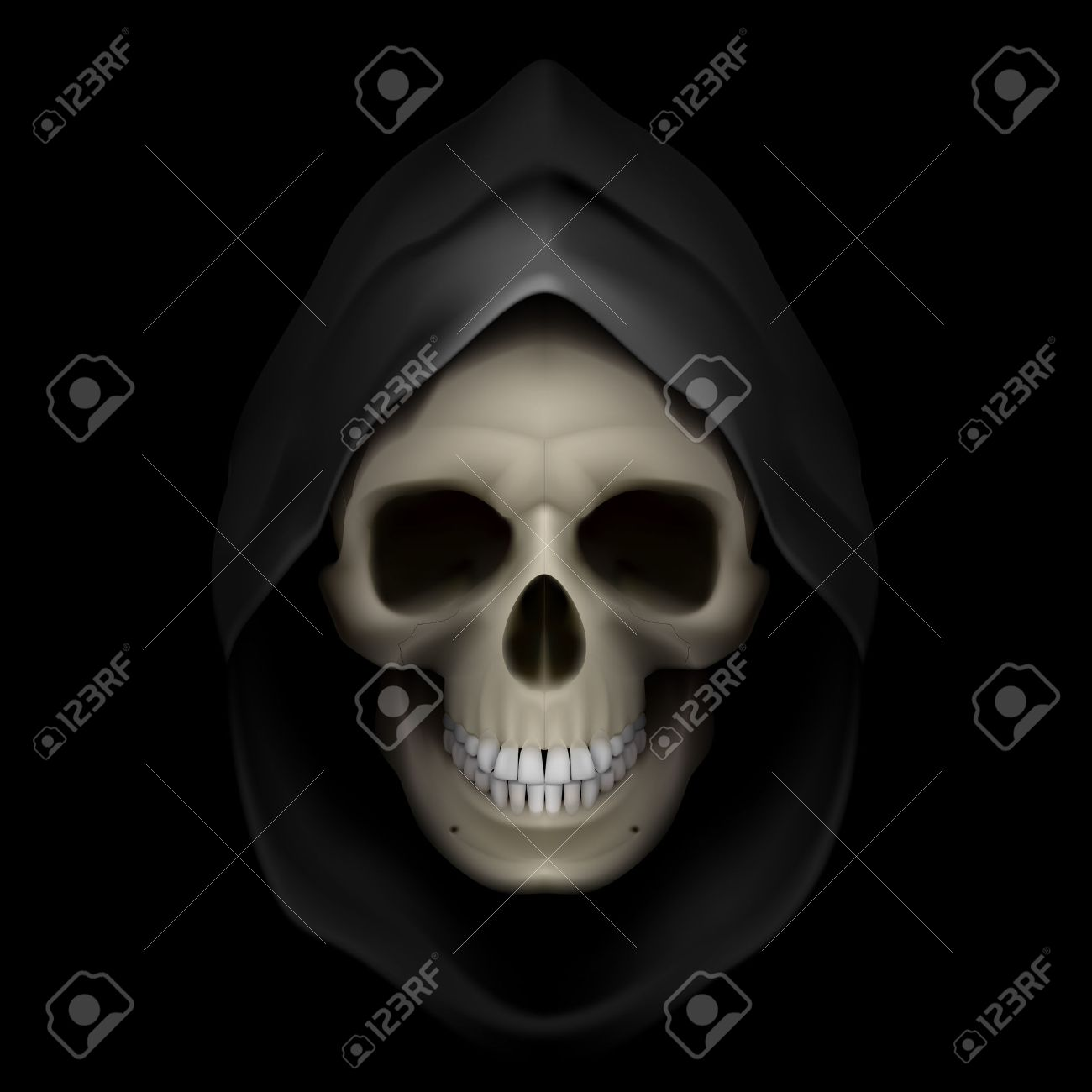 Skull in black hood as image of death. Grim Reaper. Stock Vector - 24012094
