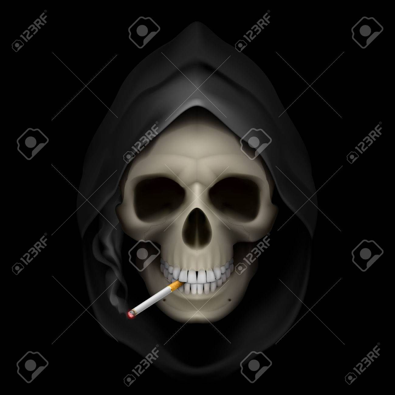 Image of death with cigarette. Stop smoking, it kills. Stock Vector - 24120472