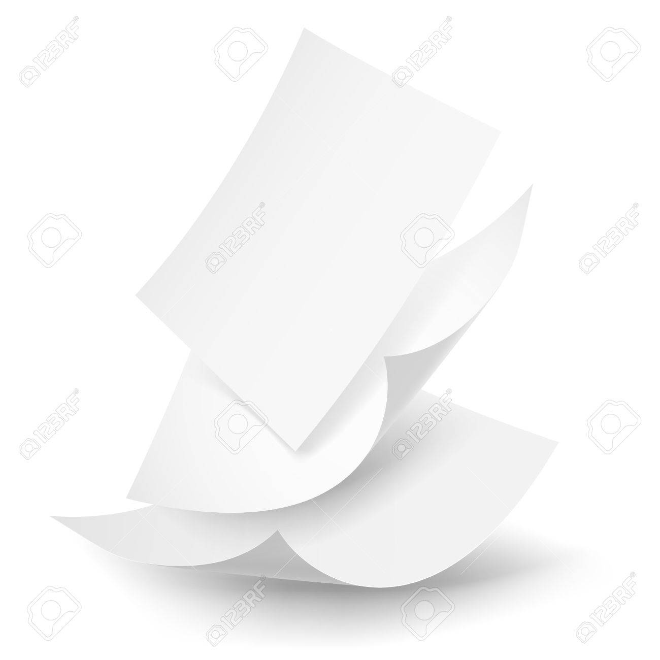 Blank paper sheets falling down. Illustration on white background. - 24120481