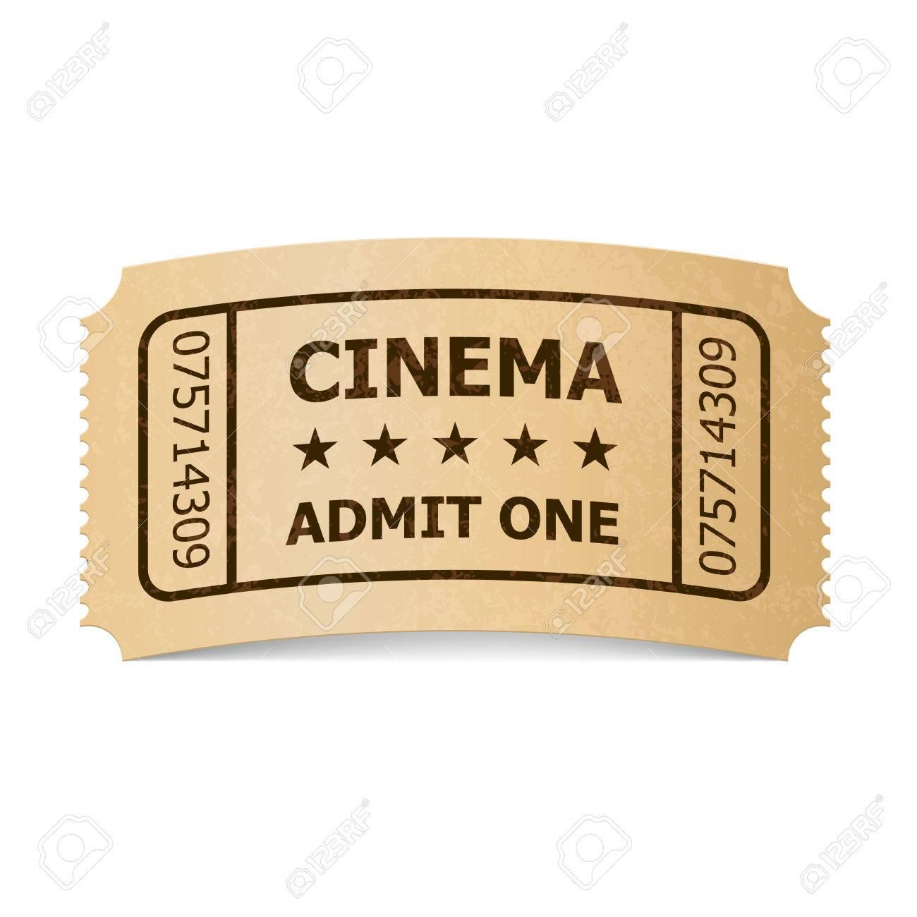 Retro style cinema ticket isolated on white vintage symbol of retro style cinema ticket isolated on white vintage symbol of film industry entertainment and buycottarizona Choice Image
