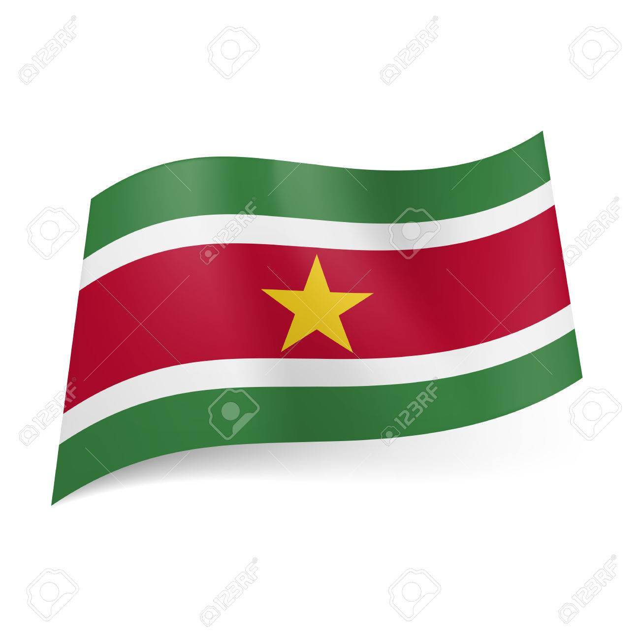 National Flag Of Suriname Red Stripe With Golden Star Between