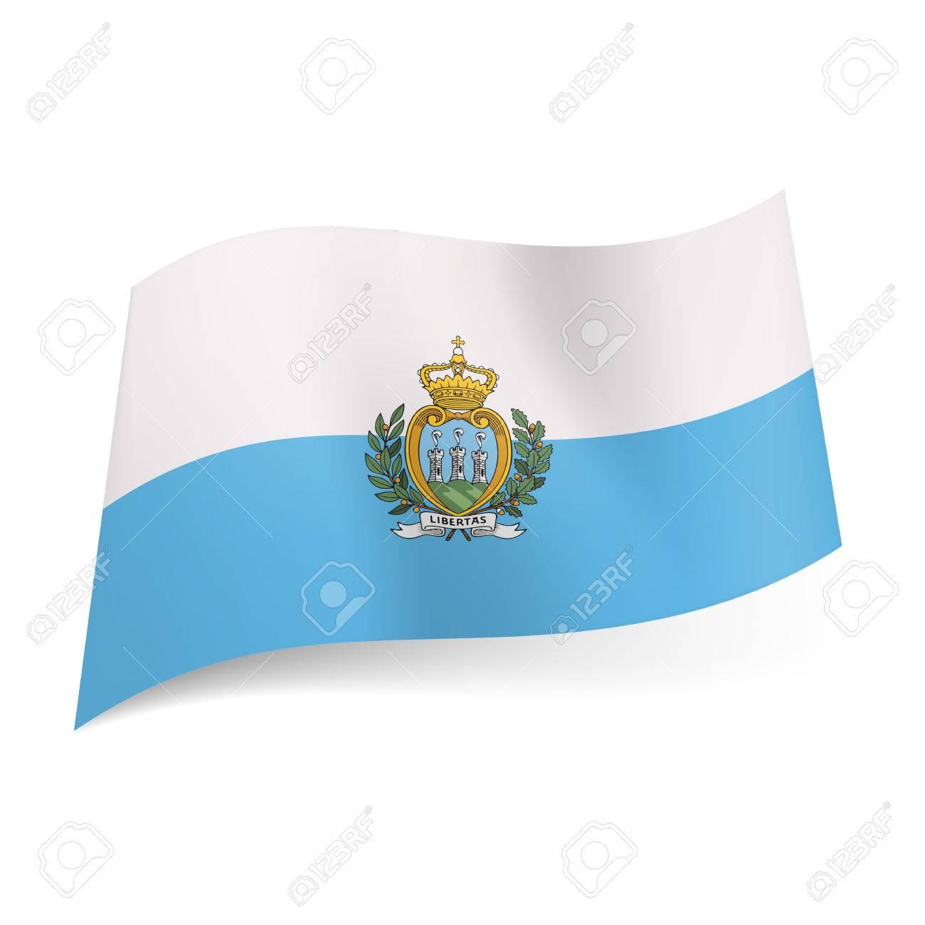 サンマリノの国旗 白と青のストライプを水平中心紋章 のイラスト素材