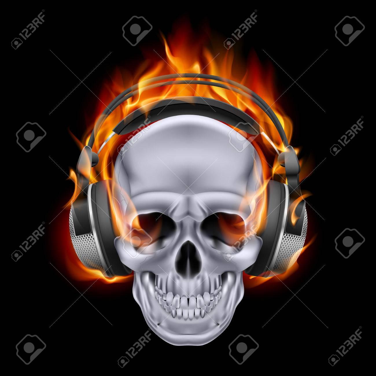 Flaming skull in headphones on black background. Stock Vector - 24680205