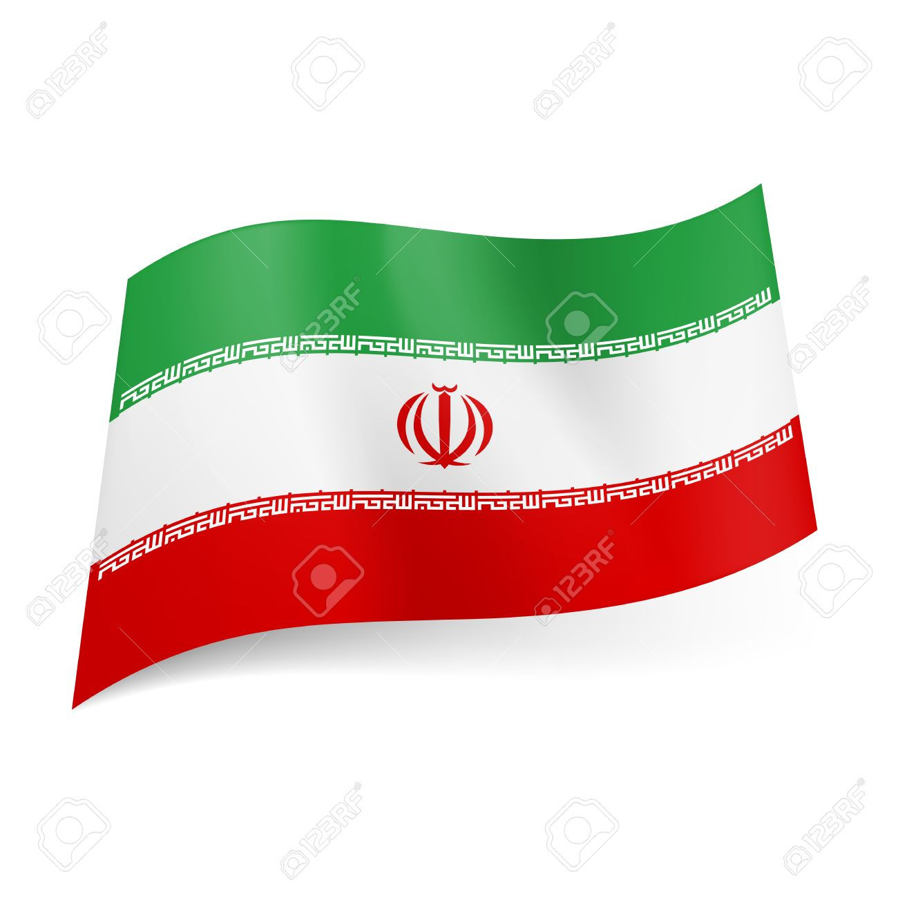 National Flag Of Iran Green White And Red Horizontal Stripes