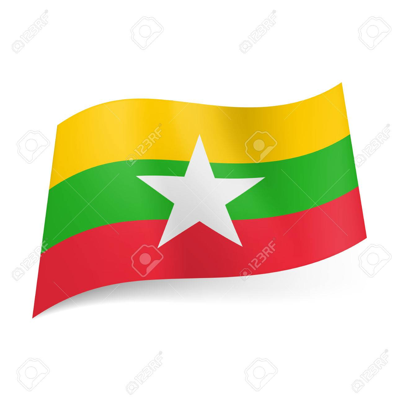 National Flag Of Republic Of The Union Of Myanmar Yellow Green