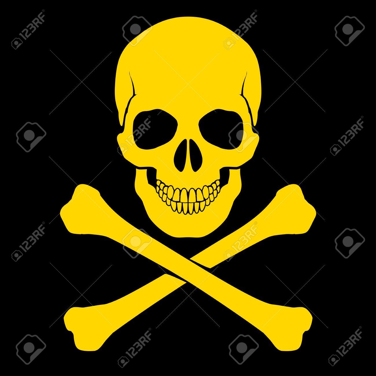 Yellow skull and cross-bones on black as symbol of danger Stock Vector - 25942632