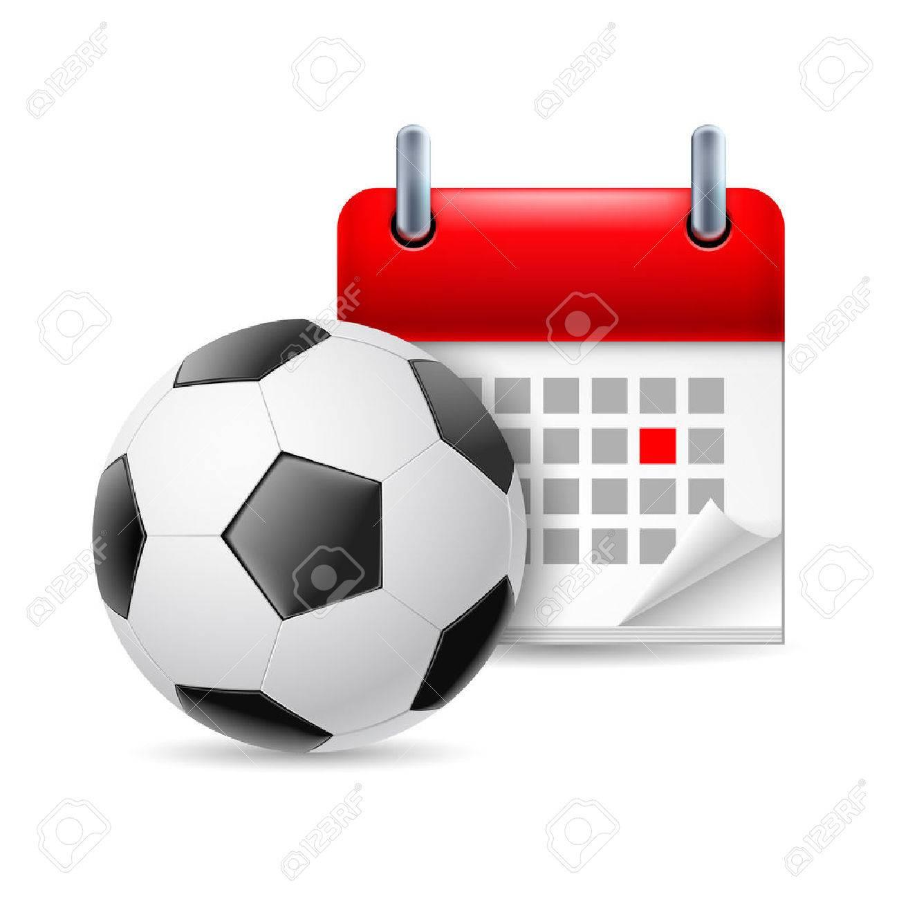 Futbol Calendario.Icono Del Futbol Y Calendario Con El Dia Marcado Evento Deporte
