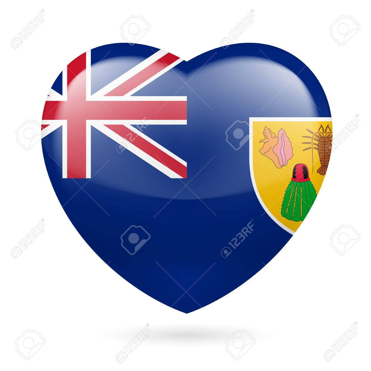 Me Encanta Islas Turcas Y Caicos Corazon Con Diseno De La Bandera