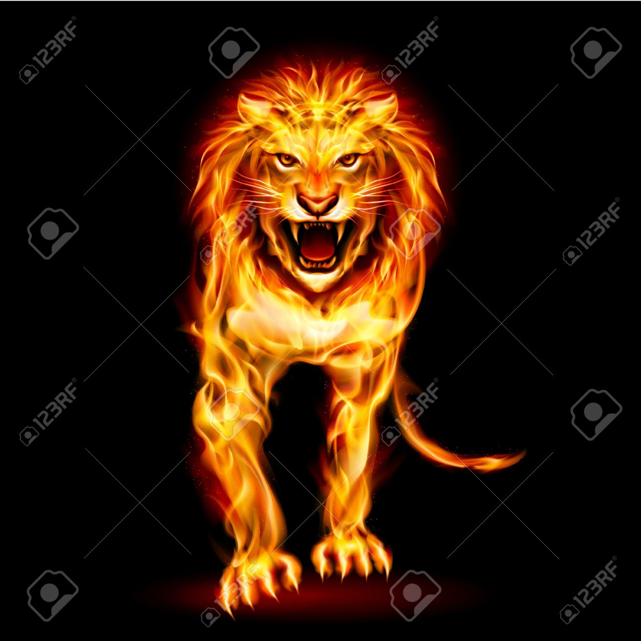 Illustration Of Fire Lion Isolated On Black Background Royalty Free Cliparts Vectors And Stock Illustration Image 27843323