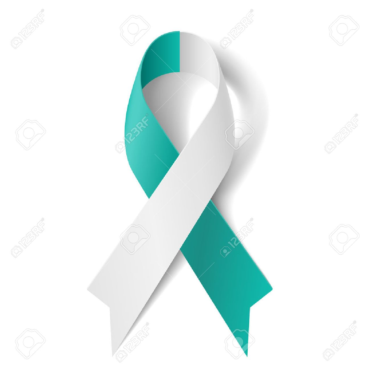 Teal and white ribbon as symbol of cervical cancer royalty free teal and white ribbon as symbol of cervical cancer stock vector 28022562 biocorpaavc