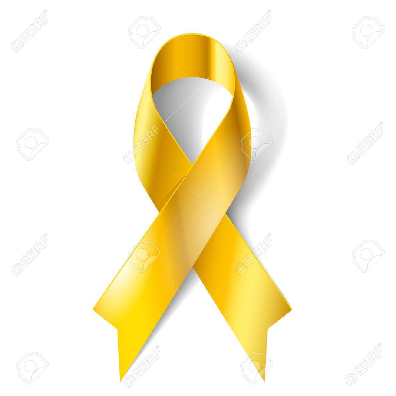 28022596-Ruban-d-or-comme-symbole-de-la-conscience-de-cancer-de-l-enfance-Banque-d'images