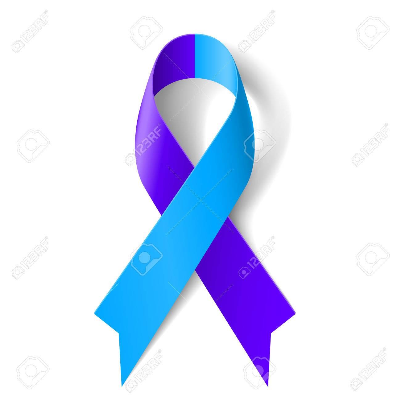 cinta azul y púrpura como símbolo de la artritis reumatoide