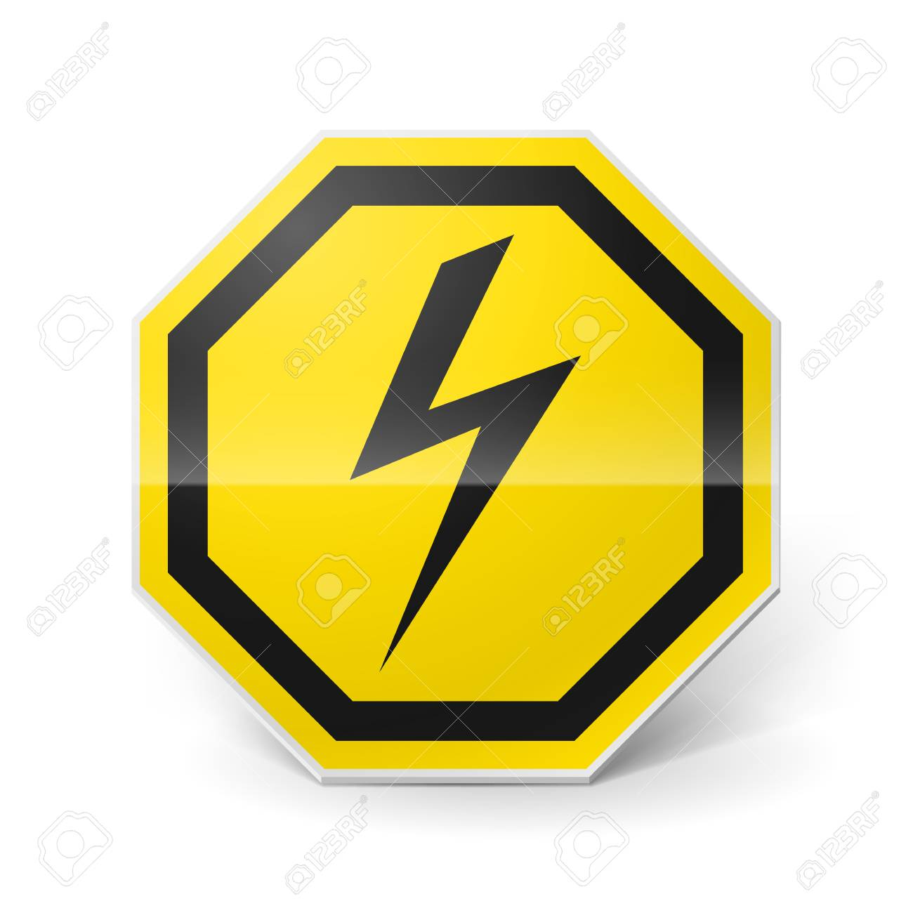 Shiny metal warning sign of high voltage on white background Stock Vector - 28157748