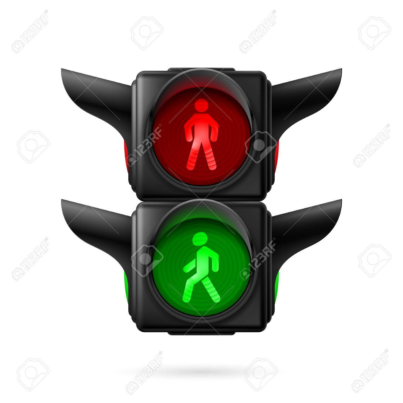 Realistic Pedestrian Traffic Lights With Red And Green Lamps On.  Illustration On White Background Stock