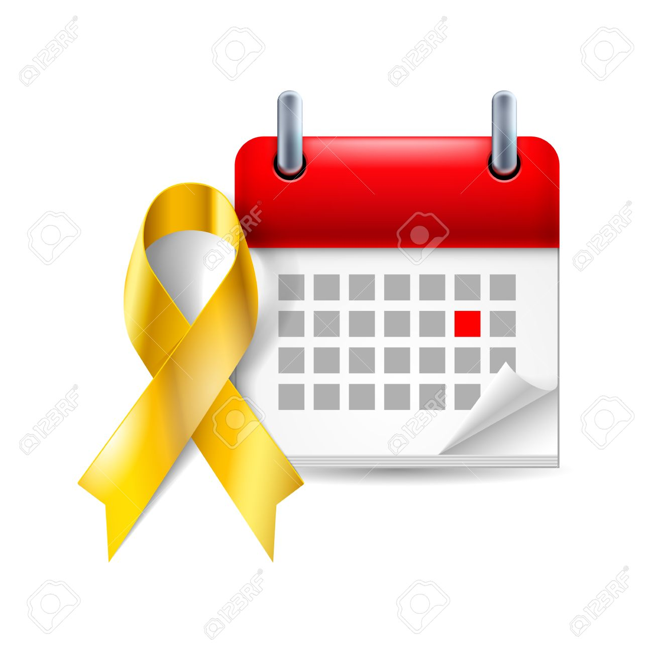 Gold Awareness Ribbon And Calendar With Marked Day Childhood