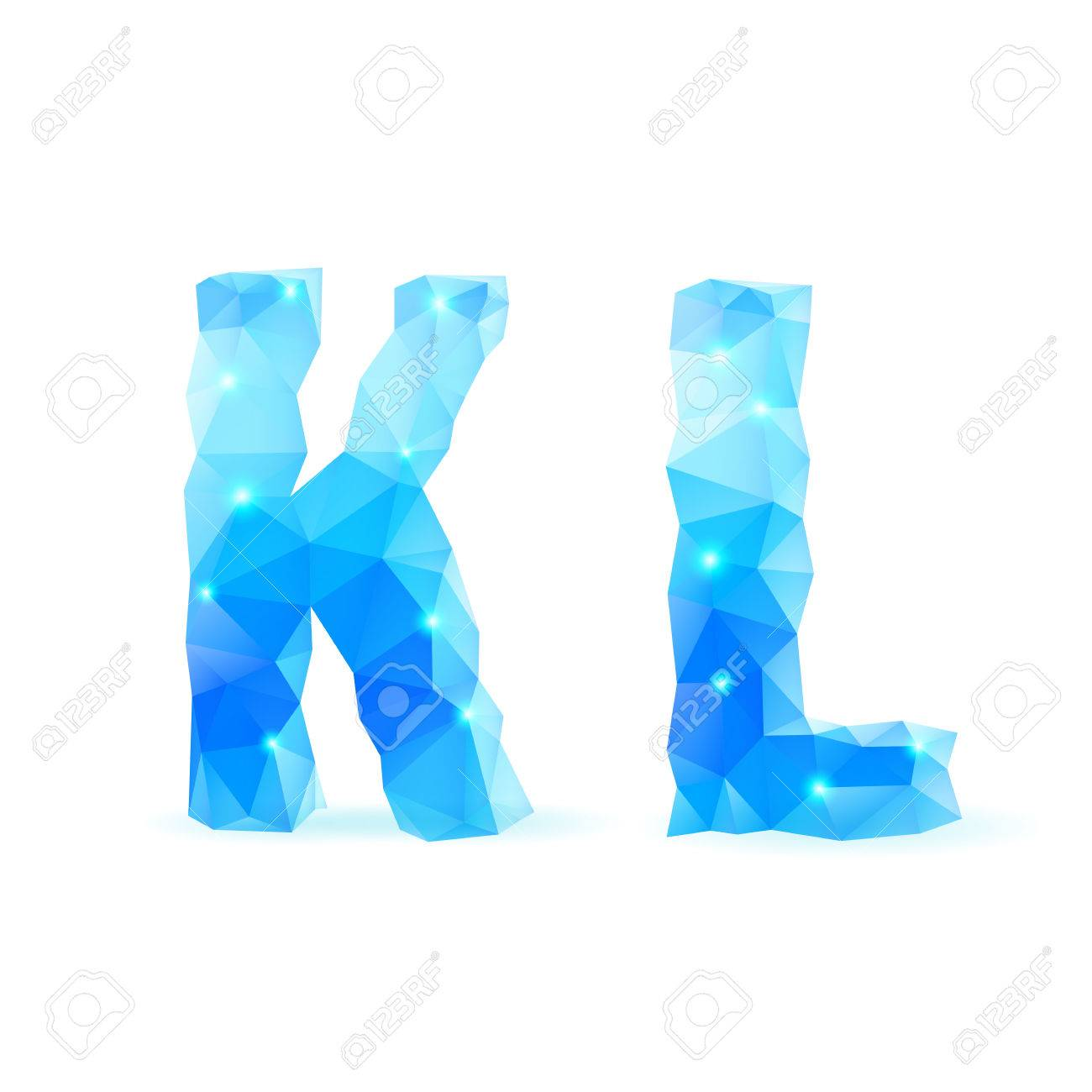 crystal style k and l letters stock vector 28580205