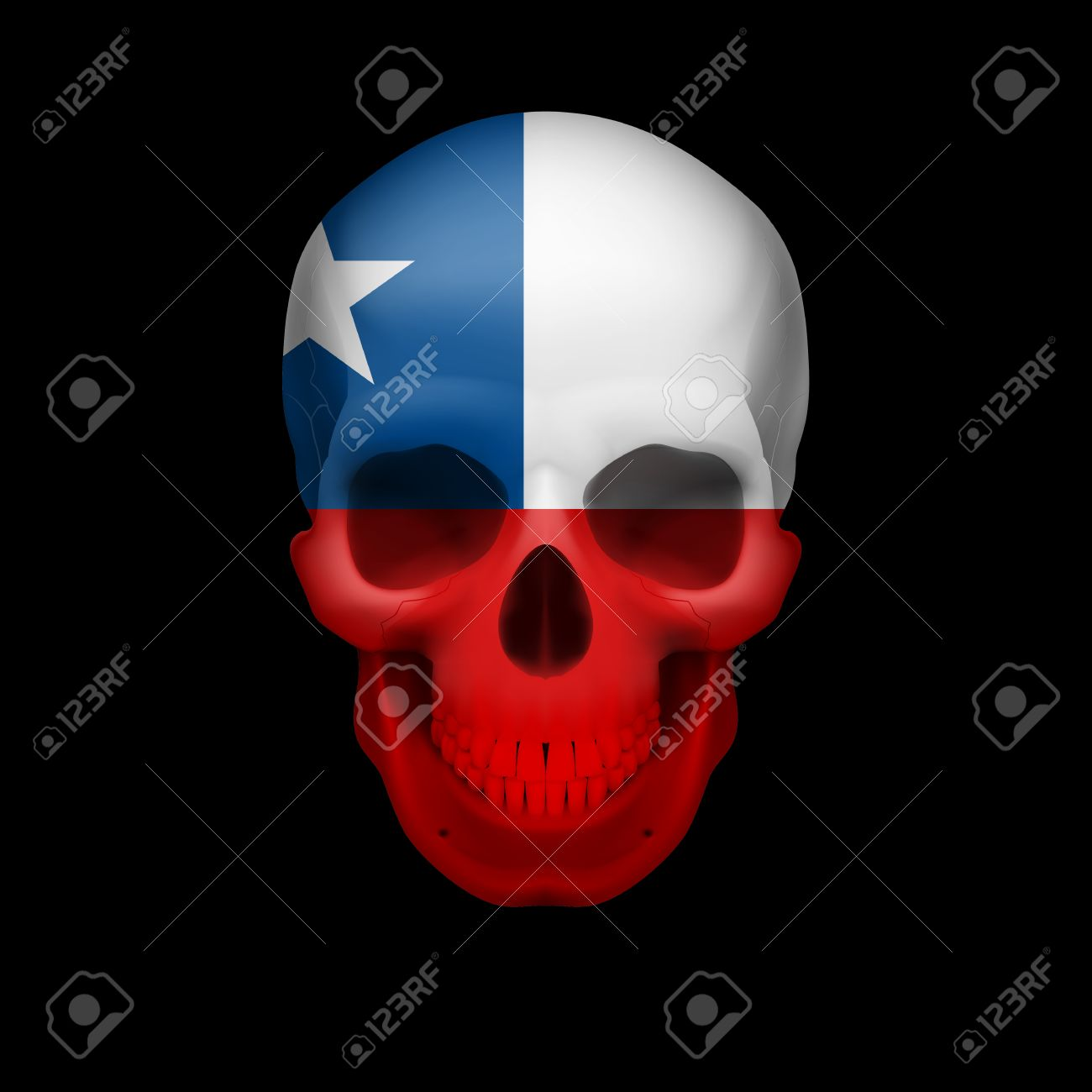 Human skull with flag of Chile. Threat to national security, war or dying out Stock Vector - 28609763