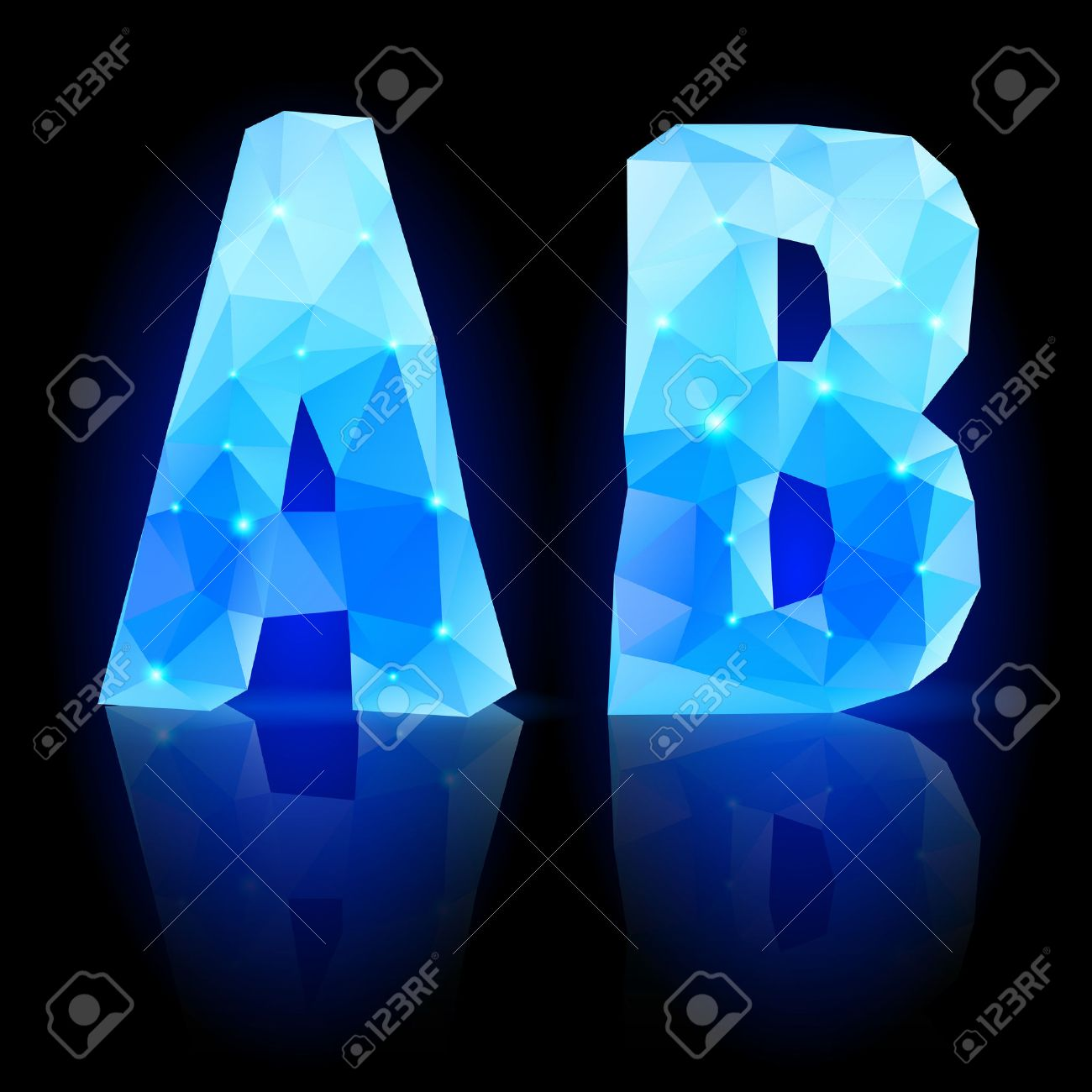 crystal style a and b letters with reflection on black backround