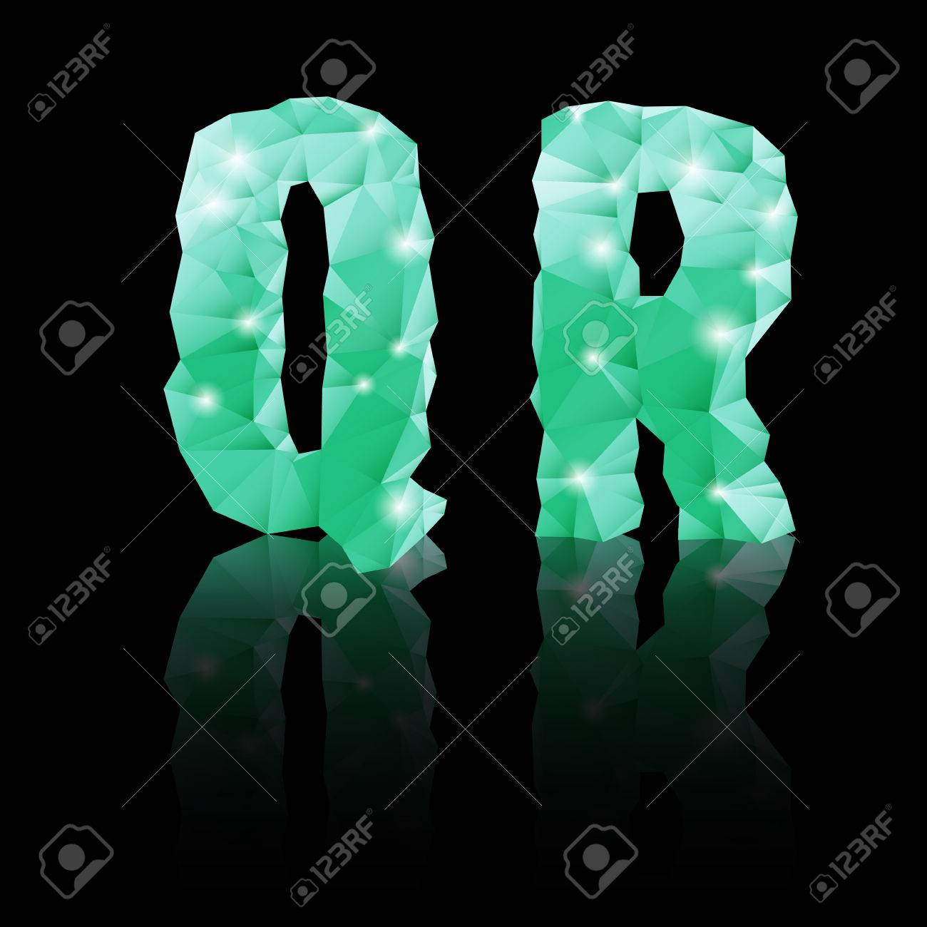 shiny emerald green polygonal font with reflection on black background crystal style q and r