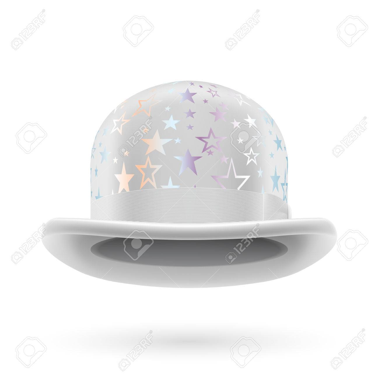 5105c282143d1 White Round Bowler Hat With Silver Glistening Stars. Royalty Free ...