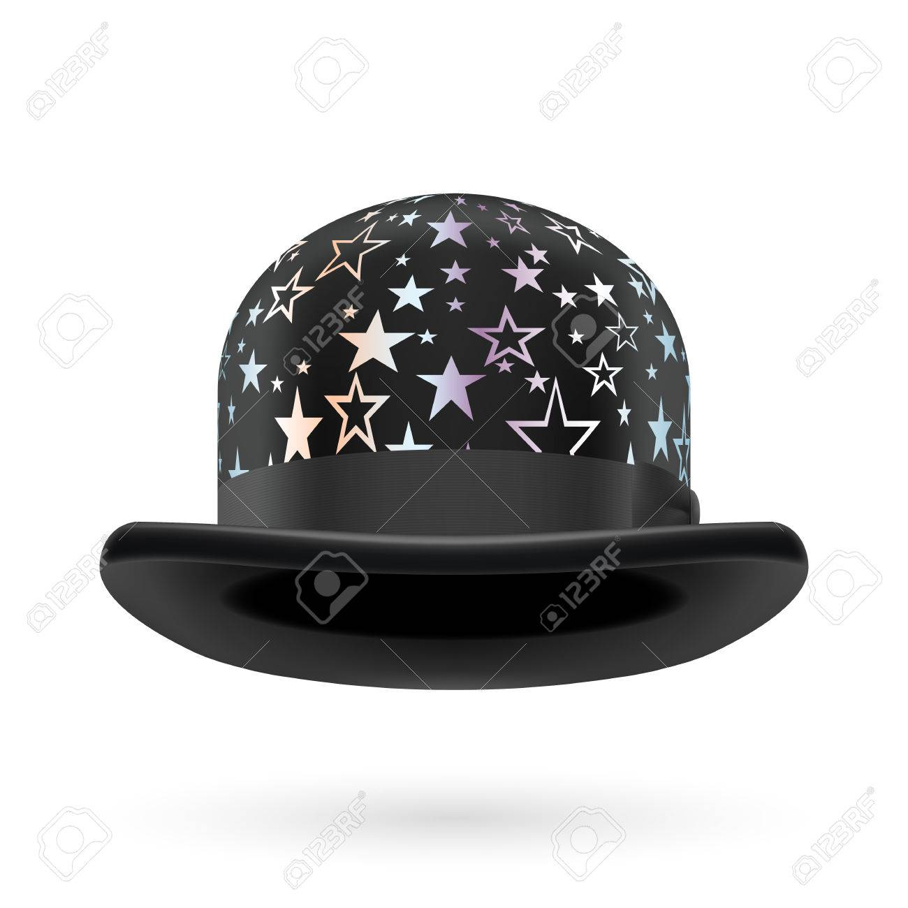 b94f04c24af4c Black round bowler hat with silver glistening stars. Stock Vector - 29032007