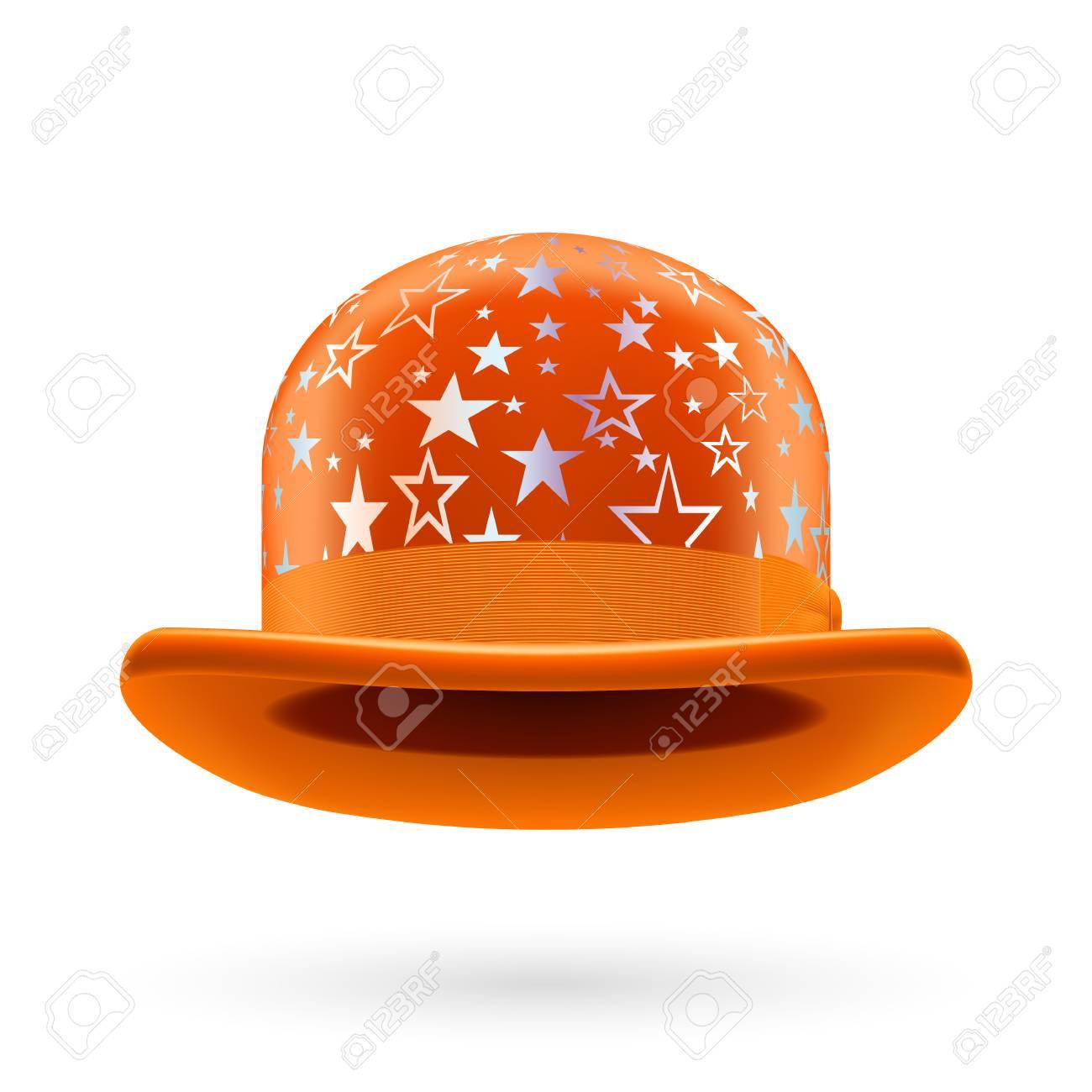 Orange round bowler hat with silver glistening stars. Stock Vector -  29032014 f4cff5c1e8c