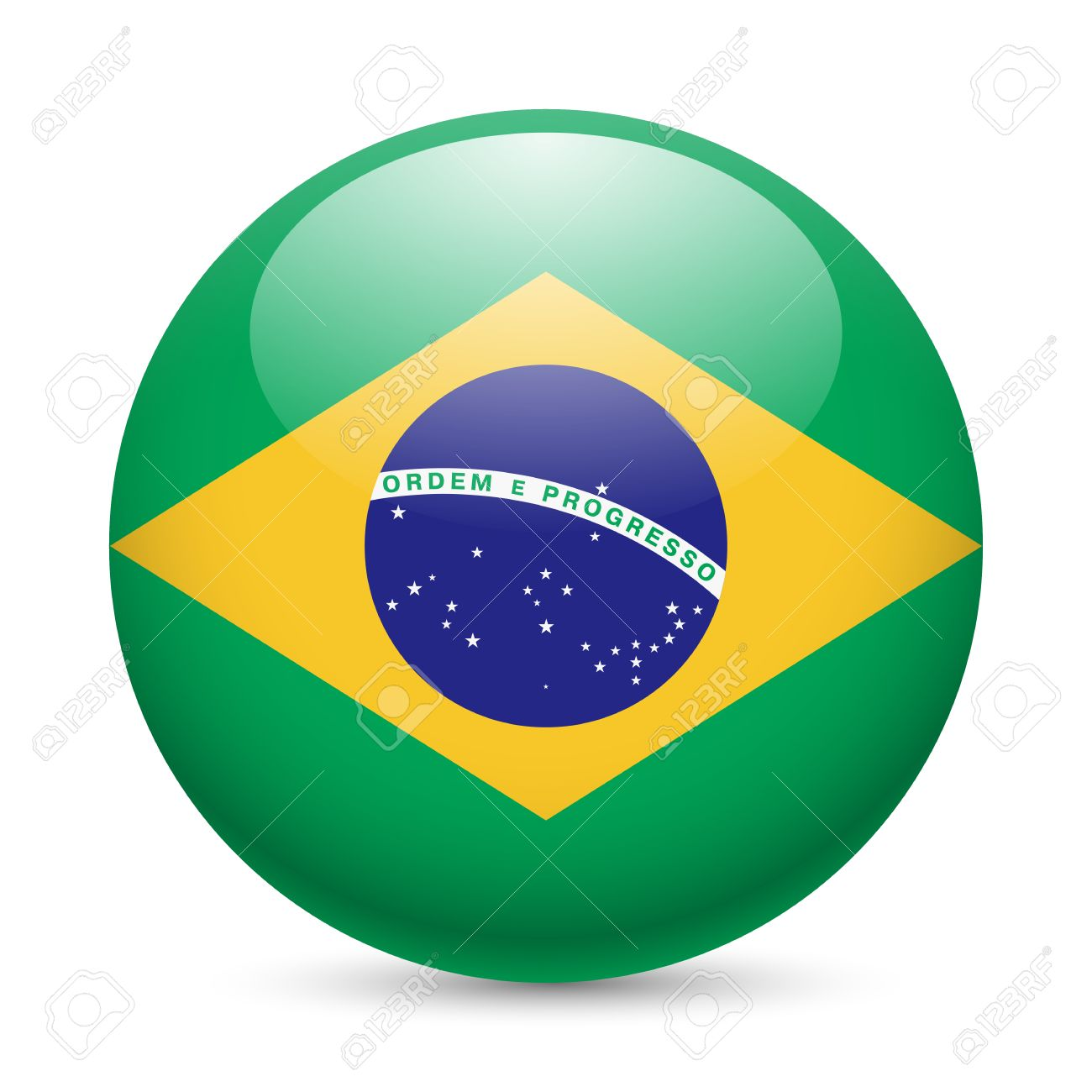 flag of brazil as round glossy icon button with brazilian flag
