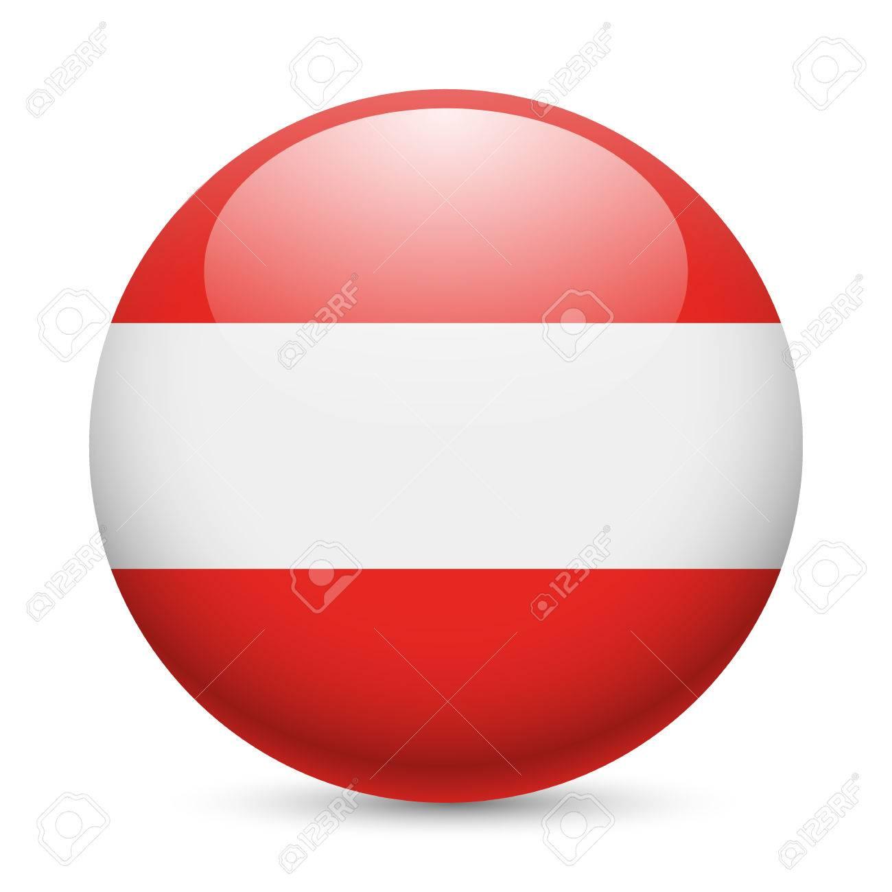 flag of austria as round glossy icon button with austrian flag