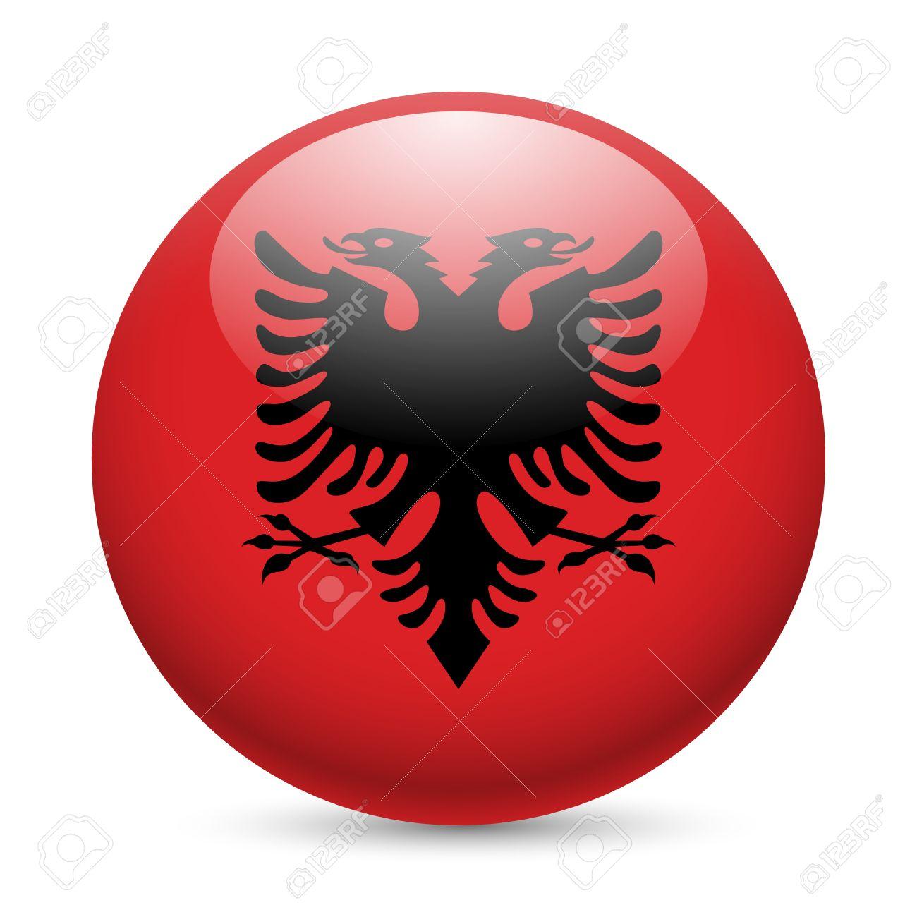 Flag Of Albania As Round Glossy Icon Button With Albanian Flag - Albanian flag